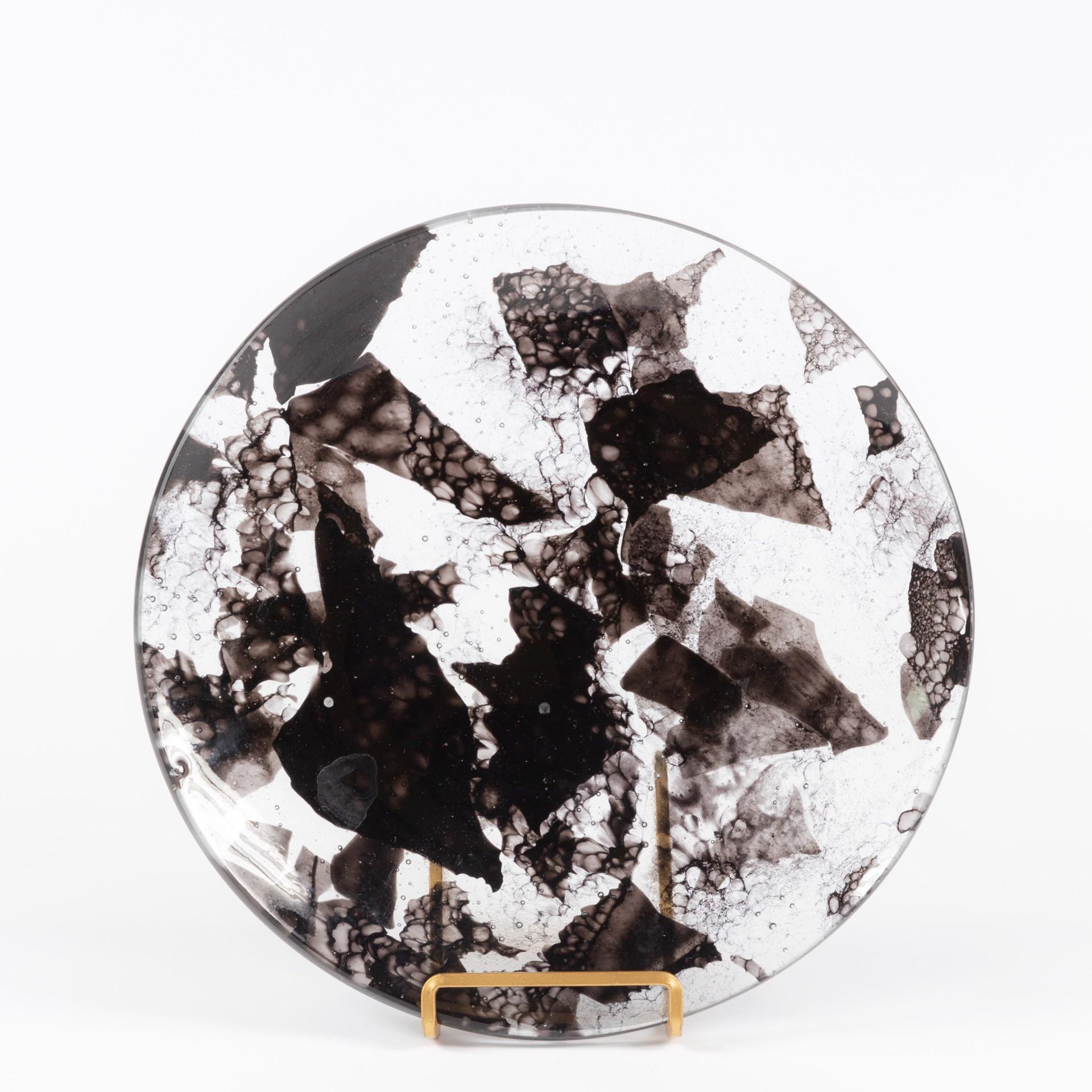 Black Speckled Fused Glass Plate Judson Studios